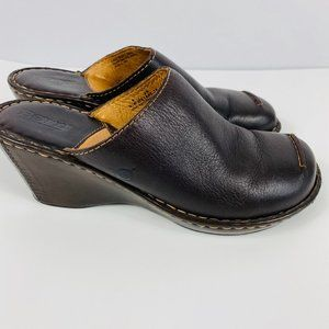 Born Brown Leather Clogs Mules Slip On Shoes
